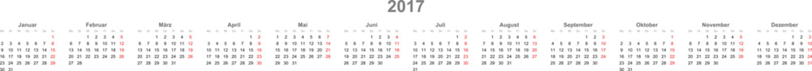 Kalender Zeile 2017