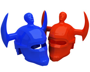 red and blue helmets isolated