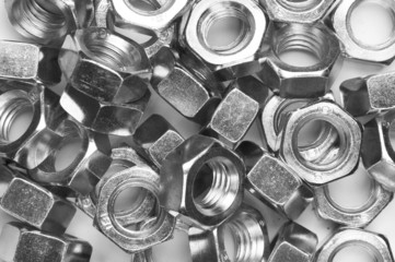 metal nuts background