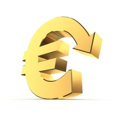 Shiny Euro Symbol with Arrow Down - Golden Metallic