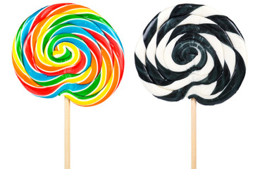 Large lollipops isolated over white background