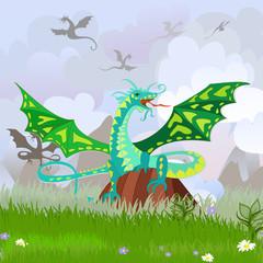 Photo sur Plexiglas Dinosaurs green dragon on the rock landscape