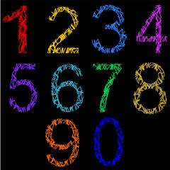 Canvas Prints Classical abstraction abstract numbers on a black background
