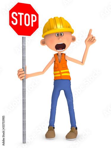 Bauarbeiter mit Baustellenschild Comic