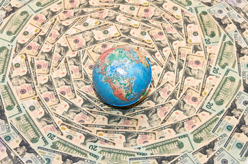 Globe in U.S. dollars. Global Economy
