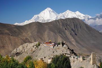 Wall Murals Nepal Buddhist Monastery and Dhaulagiri peak, Nepal