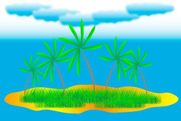Vector tropical island