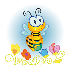 little bee with bucketful of honey over the flowers