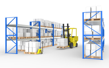 Forklift, hand truck and shelves.Part of a Warehouse series