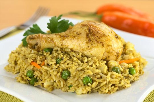 Arroz con Pollo (rice, chicken, peas, corn, aji, cilantro)