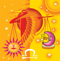 Libra; astrological sign with scale and bird