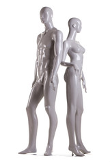 male and a female mannequin on white background