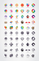 Colorful and grayscale vector design elements collection