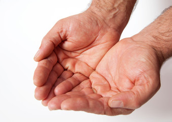 handful adult human hands fortune beg labor pray