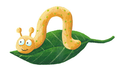 Cute worm with green dots