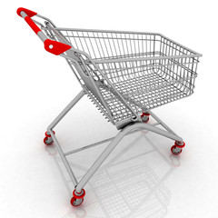 3d empty facilitated shopping cart isolated on white background