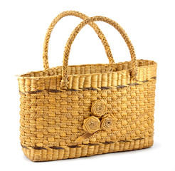 wicker bag isolated on white background