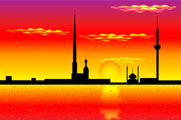 Silhouette of St. Petersburg at sunset - vector