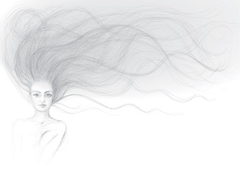 WOMAN with beautiful long hair / Realistic sketch