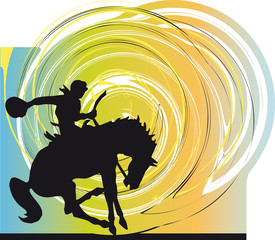Abstract rodeo cowboy. Vector illustration