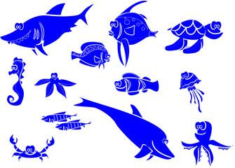 Большой набор морских рыб