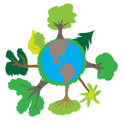 Cute child planet Earth drawing vector
