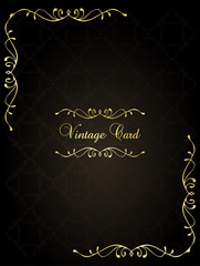Vintage wedding card frame vector background