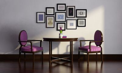 Vintage 3d purple luxury room, with table, 2 chairs  wood floor