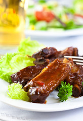 Roasted pork ribs with barbecue sauce