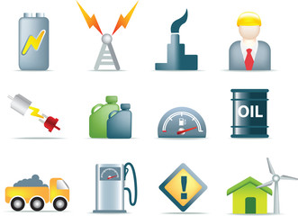 set of power and energy icons