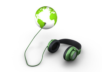 Headphones connected to the earth