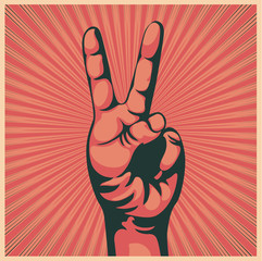 hand with victory sign