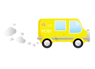 Yellow post cartoon moving bus vector illustration