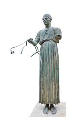 Statue Charioteer in Delphi museum, Greece