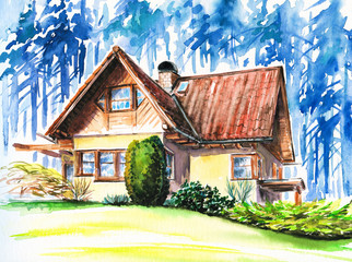 Hand painted picture of house close to forest.