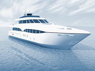 luxury white cruise yacht