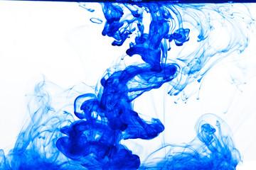 Blue ink drop