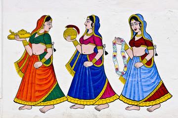 3 Frauen Wandbild Udaipur