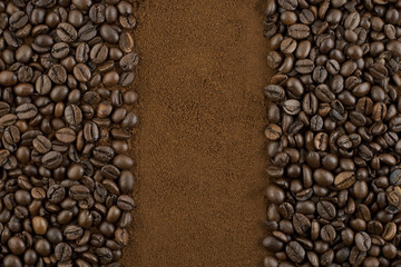 three sets of stripes made of coffee beans and ground coffee