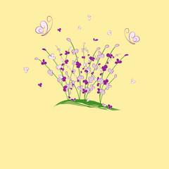 summertime purple flower butterfly greeting card