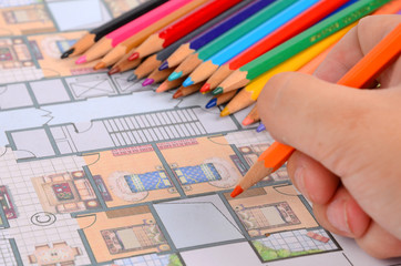 House plan and color pencils