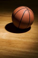 Basketball sitting on wood floor