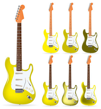 set of yellow electric guitars isolated on white