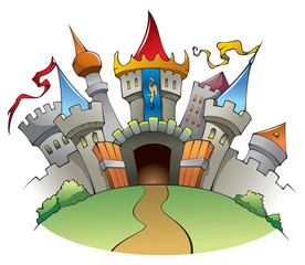 Poster Chateau Medieval castle, cartoon vector illustration