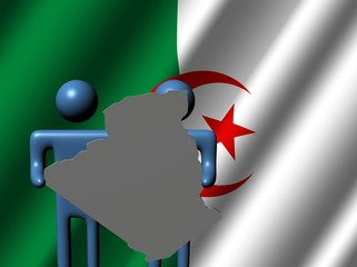 abstract people holding Algeria map sign with flag illustration