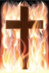 Cross on fire, vector illustration
