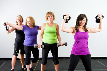 Group of women working out at a gym