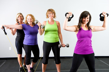 strong healthy women at a gym