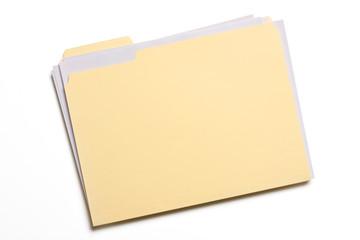 Documents stuffed in Manila folder isolated on white - fototapety na wymiar