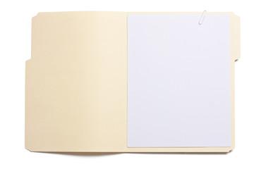 Blank opened file folder with empty white paper - fototapety na wymiar